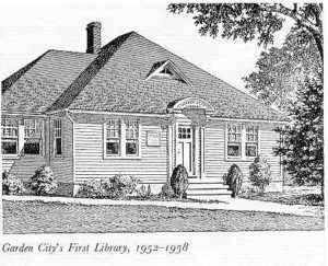 drawing of Garden City's first library, 1952-1958